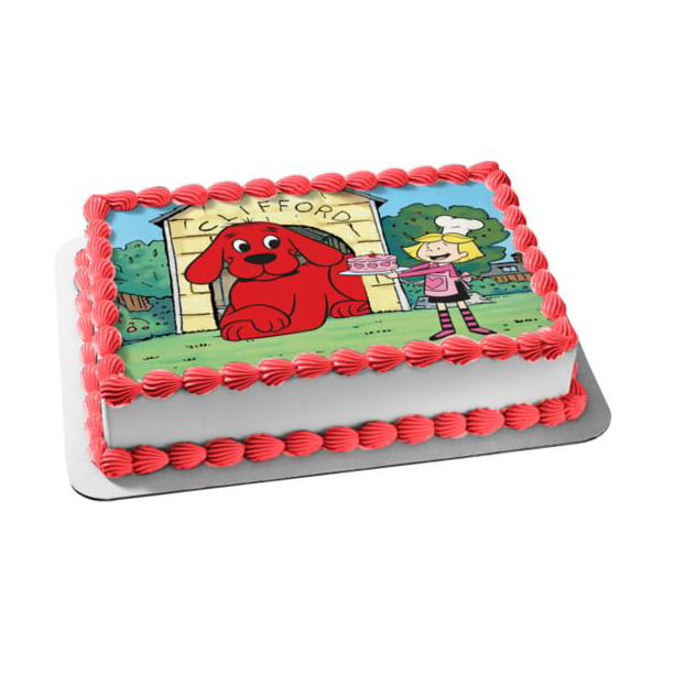 Pleasant Clifford The Big Red Dog Emily Cake Edible Cake Topper Image Personalised Birthday Cards Petedlily Jamesorg