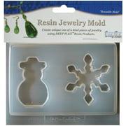 "Resin Jewelry Mold 4.5""X4.75""-Snowman & Snowflake - 2 Cavity"