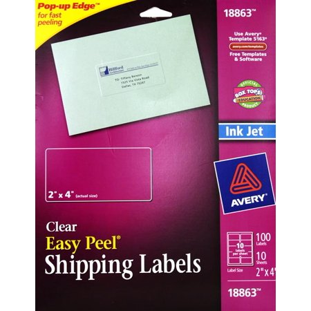 Avery Shipping Labels 2 X 4 Clear 100 Count Walmart