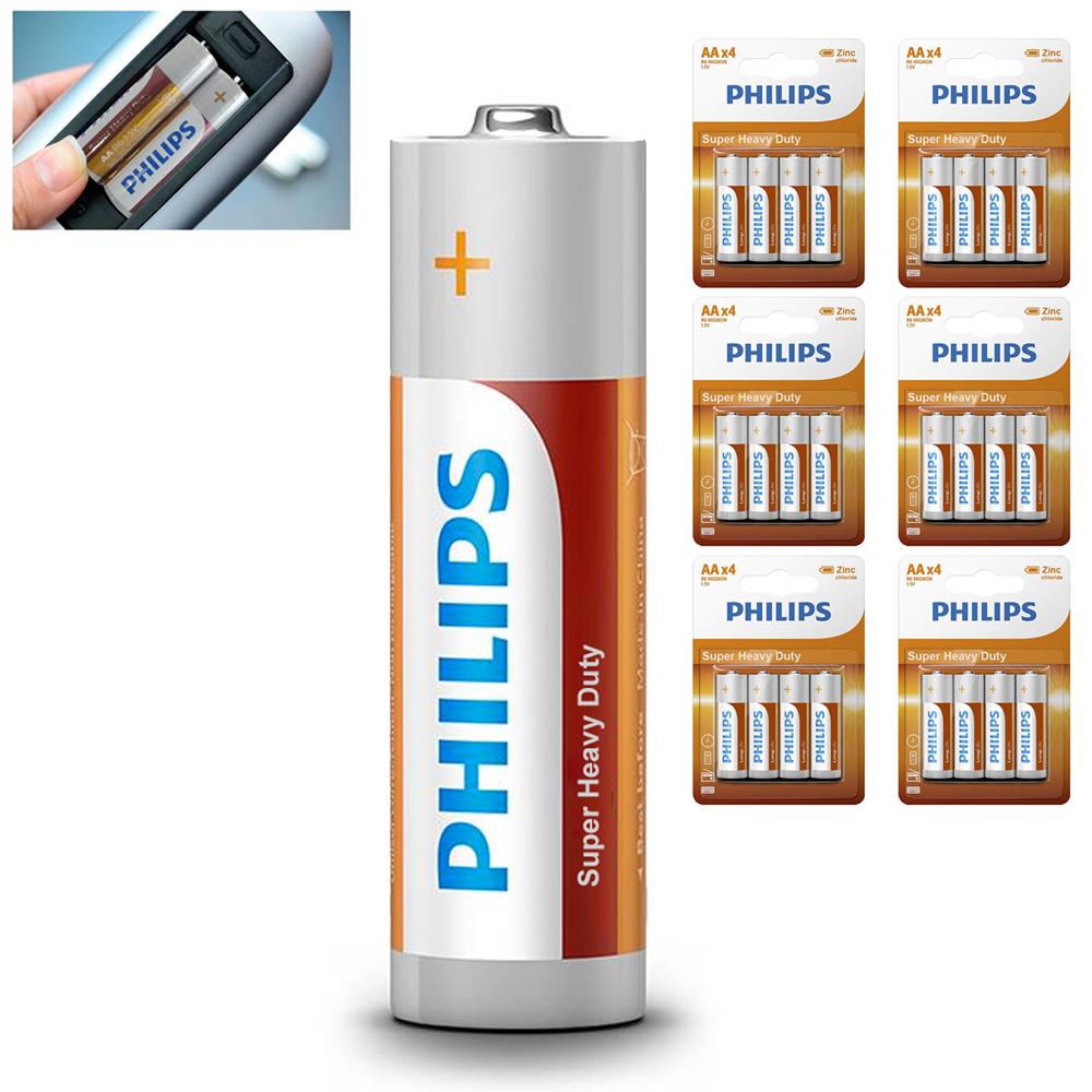 24 AA Philips Zinc Chloride Batteries R6 1.5V Super Heavy Duty Use Double A Bulk