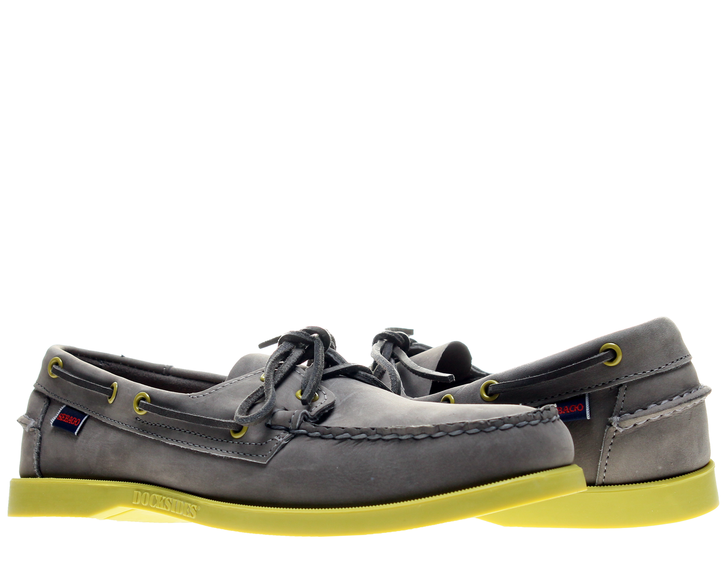 Sebago Docksides Grey Nubuck Yellow Green Men's Boat Shoes B720106 by