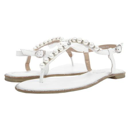 SheSole Womens Fashion Summer White Flat Sandals Thong Wedding Shoes