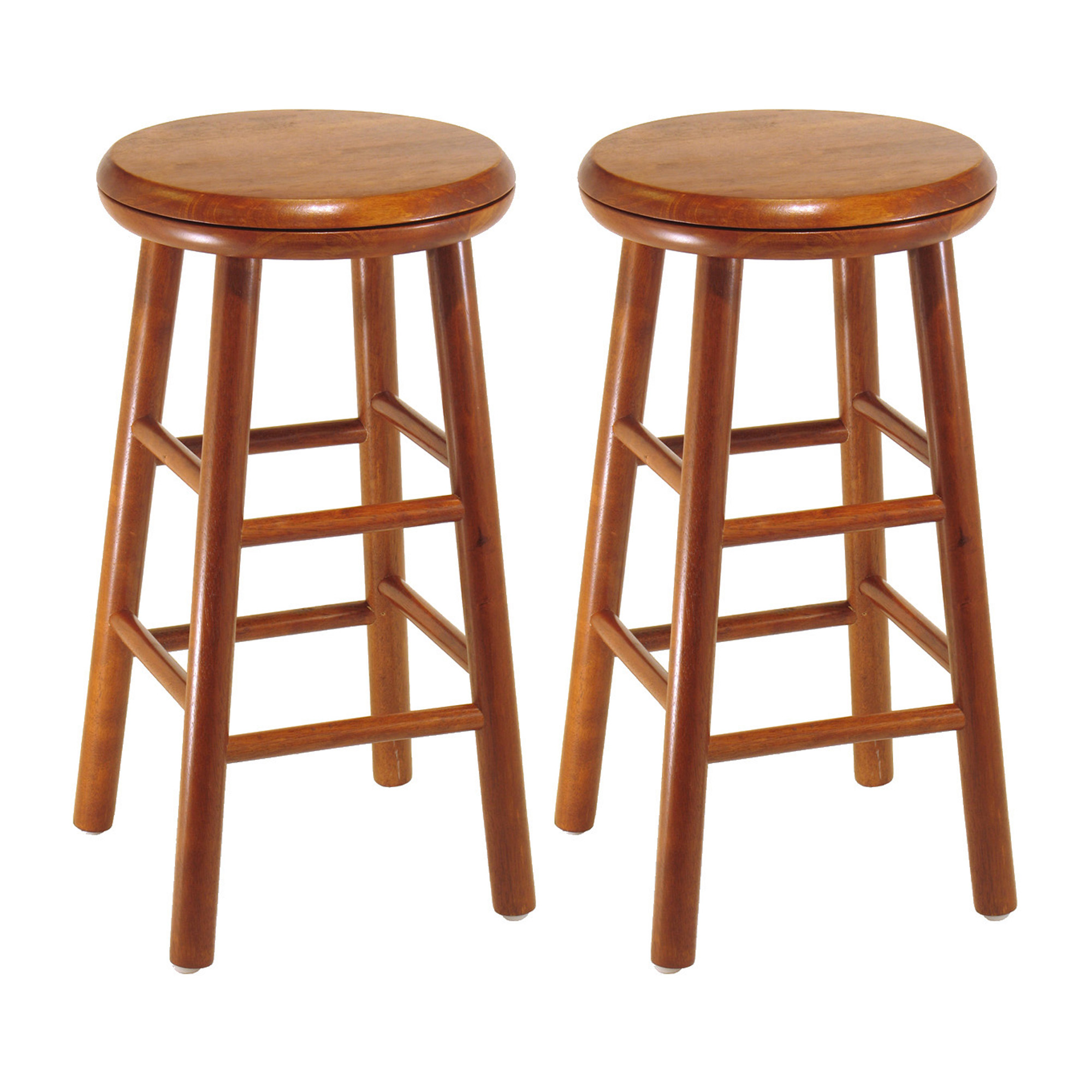 "Winsome Wood Oakley 25"" Swivel Seat Counter Stools, Set of 2, Cherry, Multiple Finishes"
