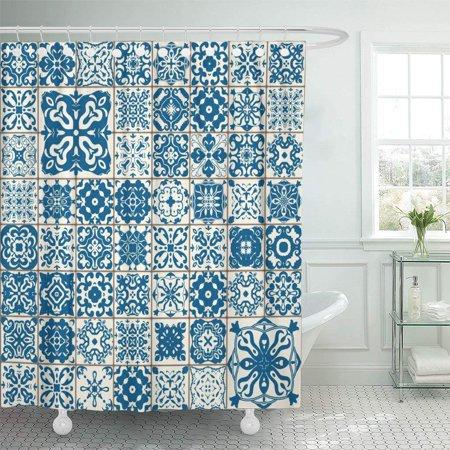PKNMT Colorful Lisbon Mediterranean Floral Flower Blue Mosaic Turkish Bathroom Shower Curtains 60x72 Inch
