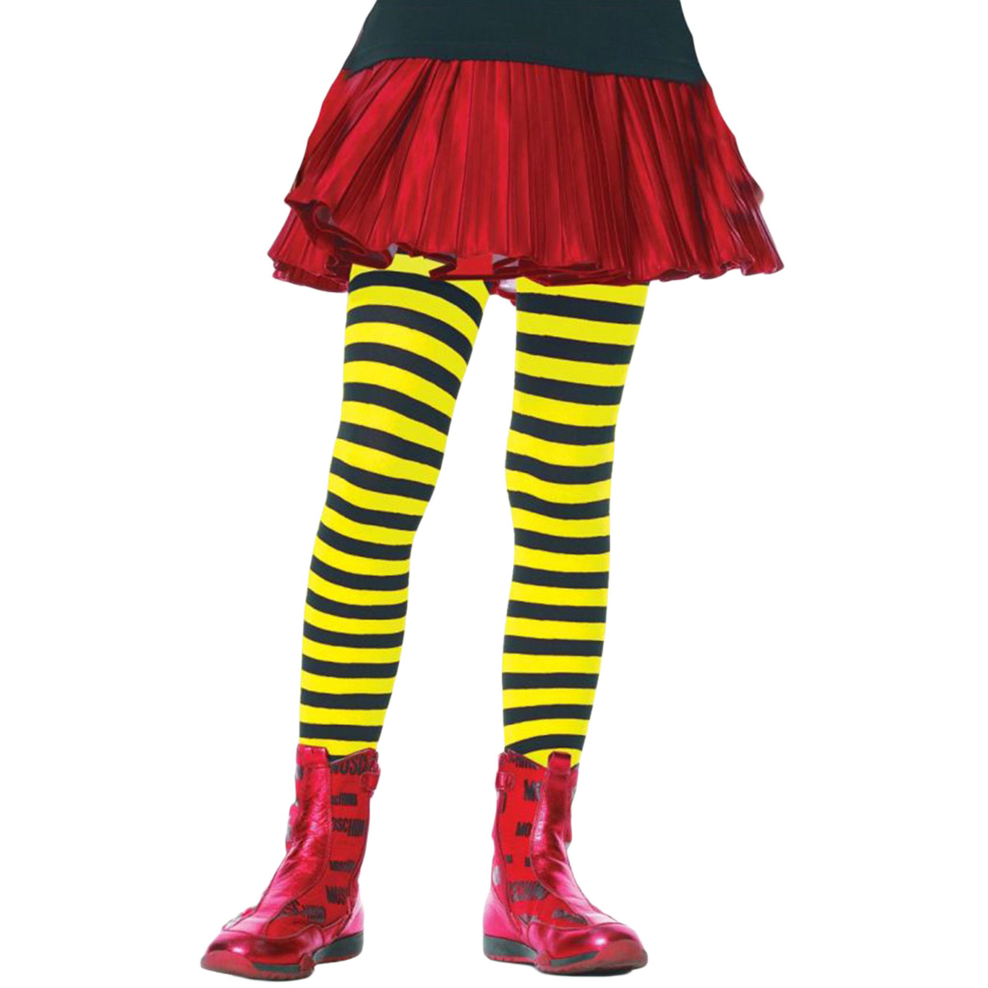 Morris Costumes Tights Child Striped Bk/Yw 4-6