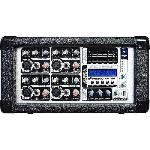 Pyle 4 Channel Powered Mixer with USB Input