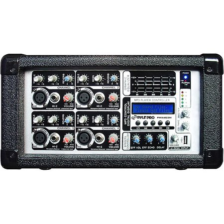 pyle 4 channel powered mixer with usb input. Black Bedroom Furniture Sets. Home Design Ideas
