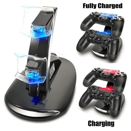 Ps3 Controller Dual Charge Stand (Dual USB Charger Dock Station Stand for Sony Playstation 4 PS4 Controller LED Cradle (with Charging Cable))