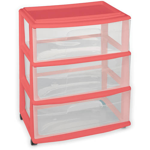 Homz Wide 3-Drawer Cart with Casters, Coral Fire