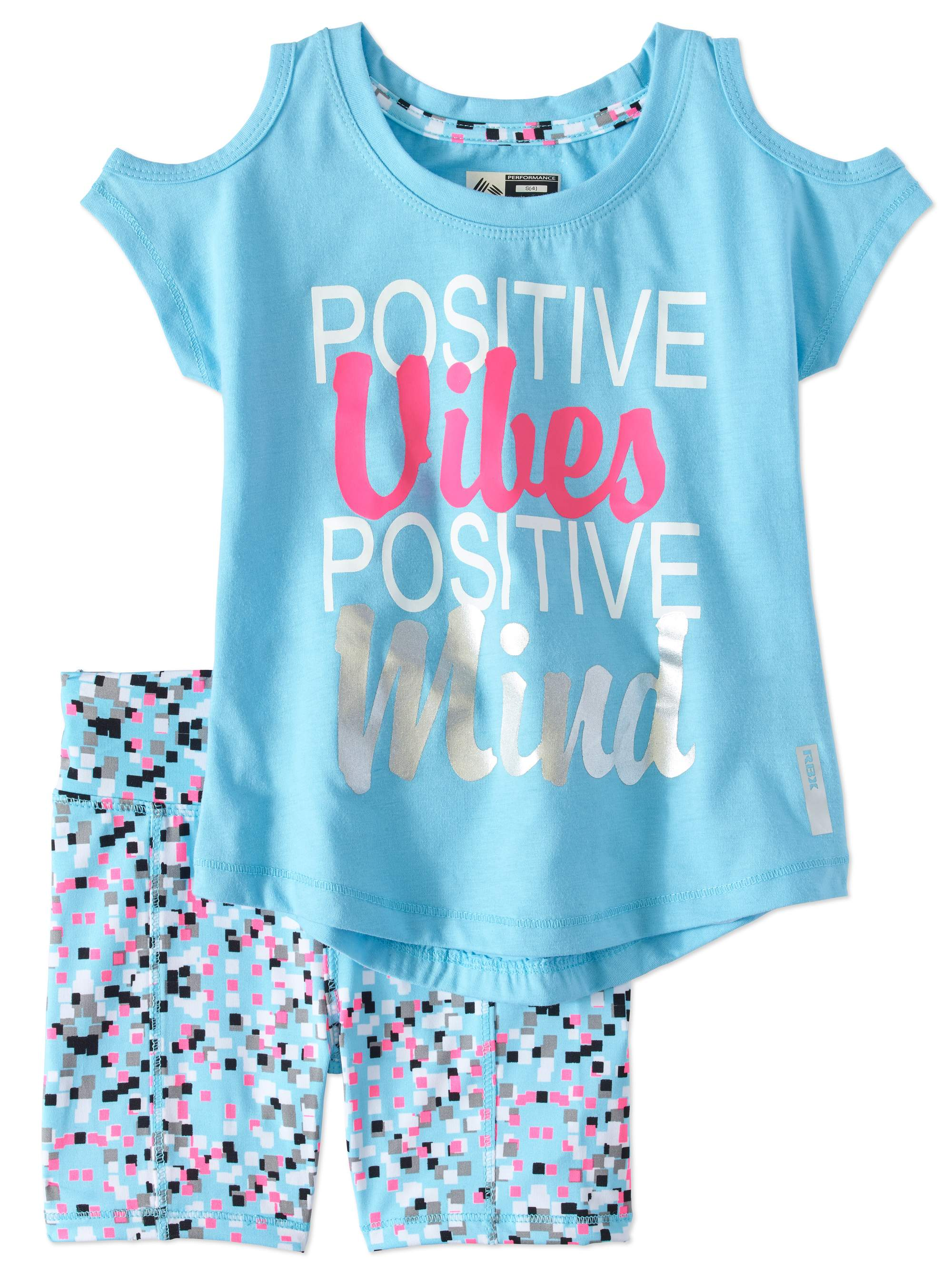 Little Girls' 4-6X Cold Shoulder Graphic Tee and Bike Short 2-Piece Active Set