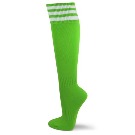 Couver Unisex Knee High Triple Stripe Youth Athletic Nylon Soccer Tube Socks - Bright Lime Green Youth Large