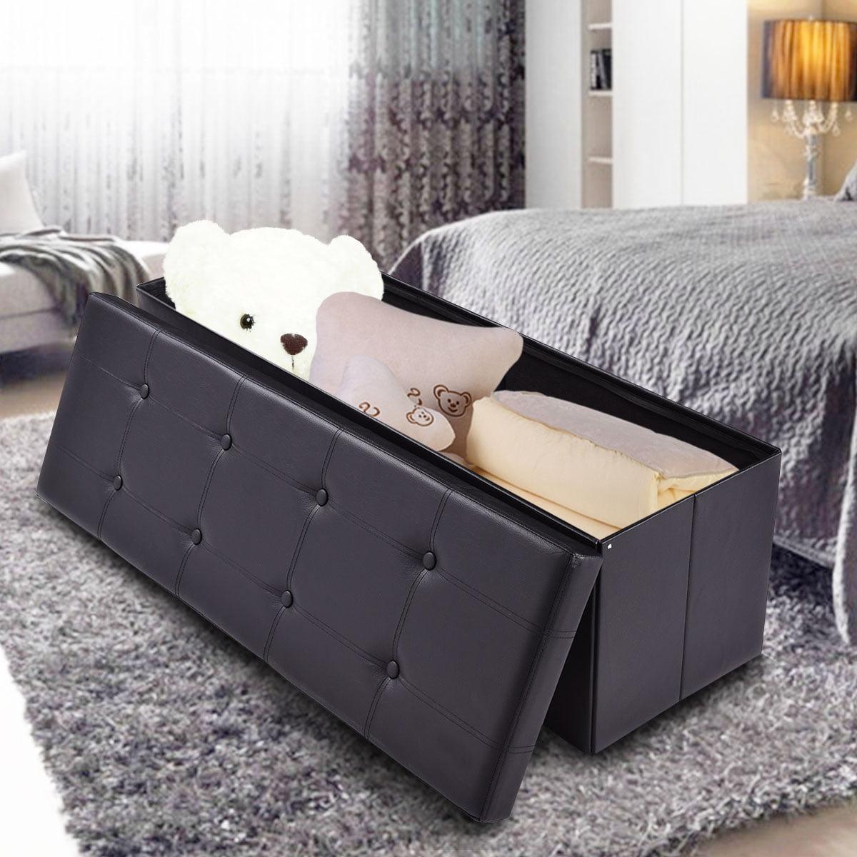Costway 45''x15''x15'' Large Folding Storage Faux Leather Ottoman Pouffe Box Stool Black by Costway