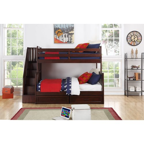 Harriet Bee Stalker Twin Over Full Standard Bed with Storage Drawers