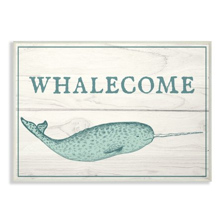 The Stupell Home Decor Collection Blue and White Whalecome Welcome Narwhal Planks Oversized Wall Plaque Art, 12.5 x 0.5 x 18.5