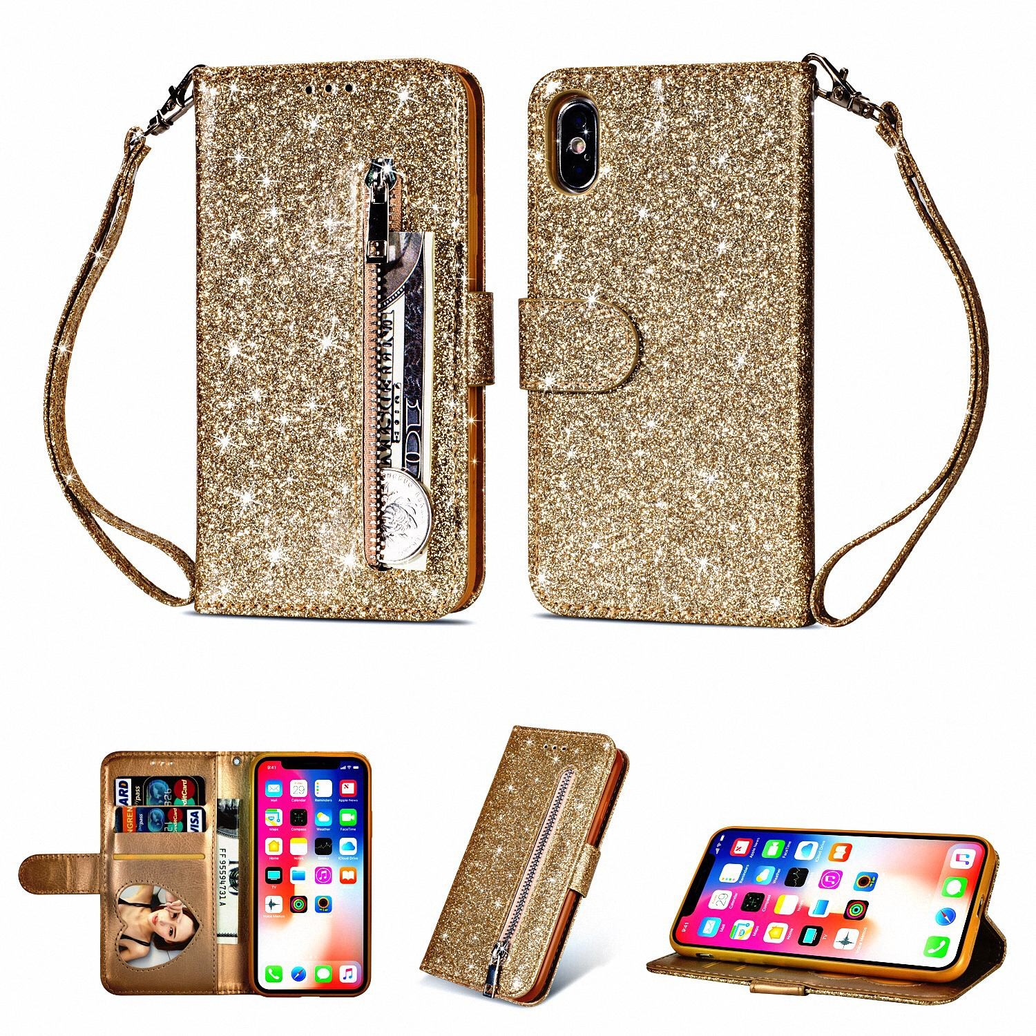 """Allytech iPhone X Case, Premium PU Leather Glitter Protective Zipper Cards Slots Wallet Case Cover with Hand Strap Shockproof Stand Cover for Apple iPhone X 5.8"""" 2017 Released, Gold"""