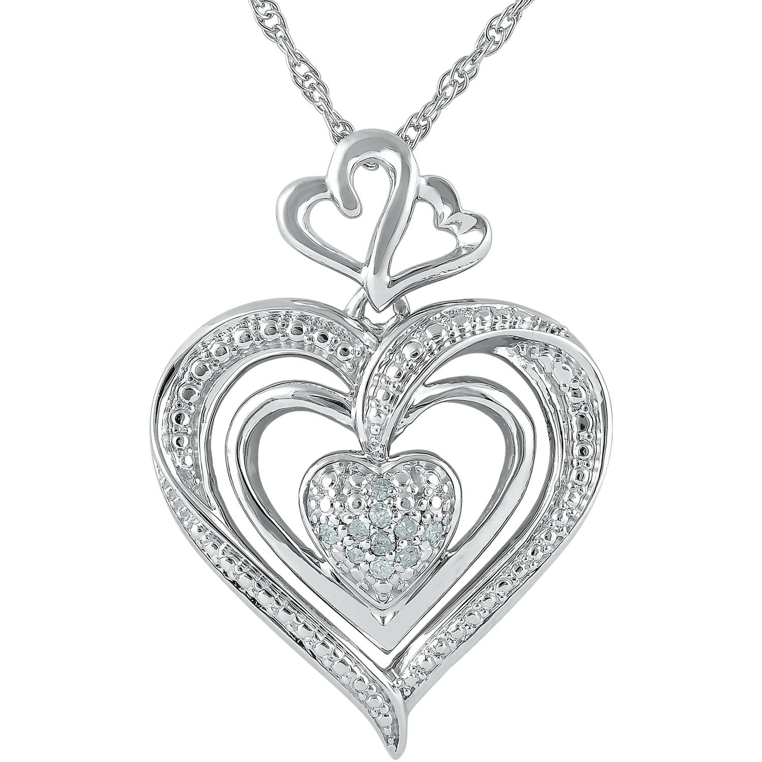 Heart 2 Heart 1/20 Carat T.W. Diamond Sterling Silver Double-Heart Pendant with Chain, 18""