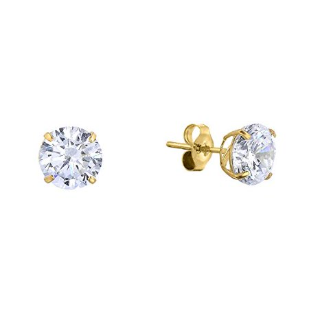 14k Yellow Gold Solitaire Round Cubic Zirconia Cz Stud Earrings With Erfly Pushbacks 5mm