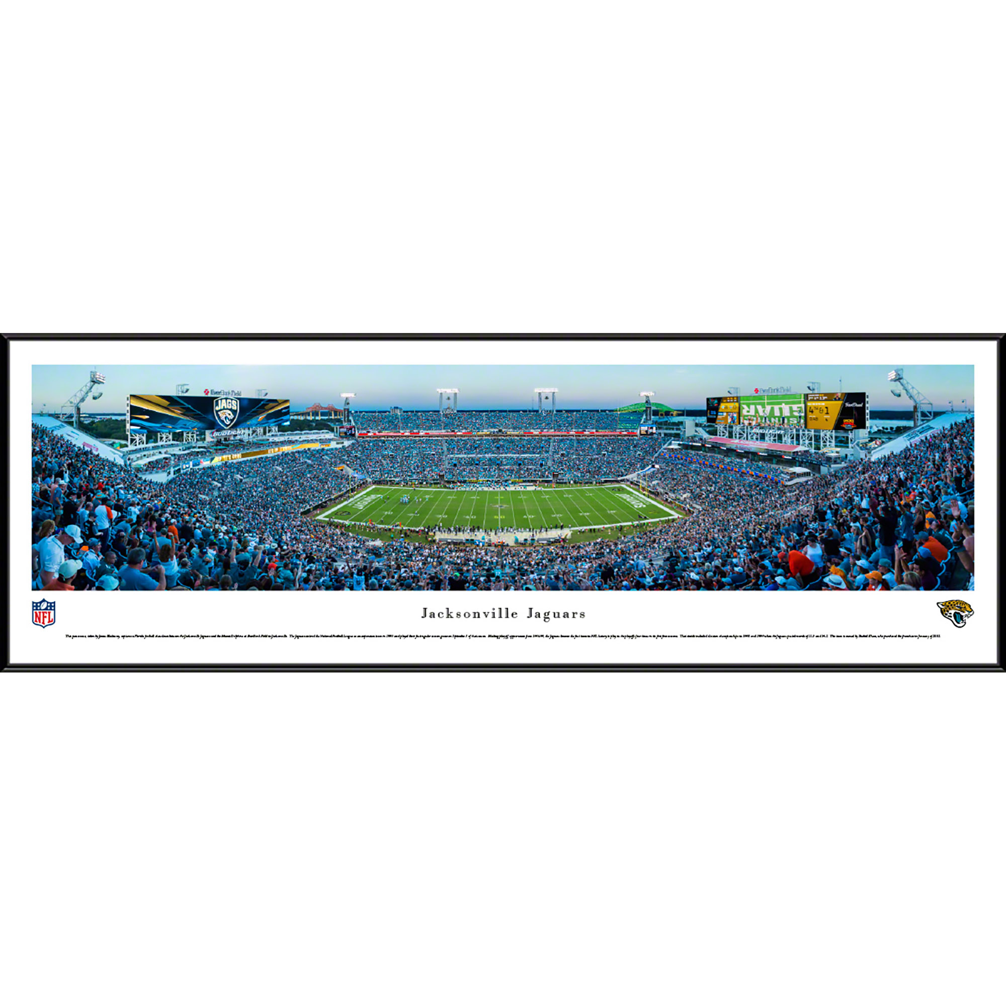 Jacksonville Jaguars 50 Yard Line At Everbank Field Blakeway Panoramas Nfl Print With Standard Frame Walmart Com Walmart Com