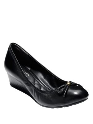 Womens Cole Haan Tali Grand Lace Wedge Pumps, Black Leather