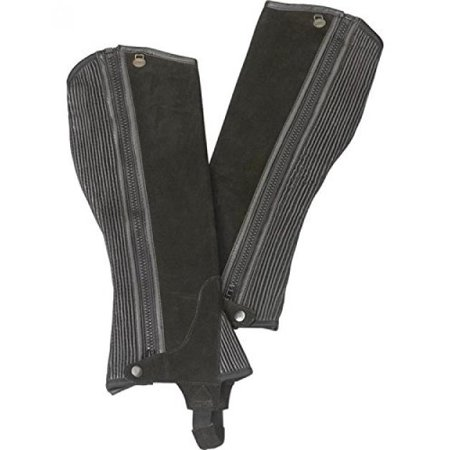 (Ovation Boys' Ribbed Suede Half Chaps Black US)