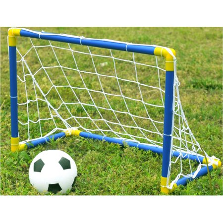 Football Post - Folding Mini Football Soccer Goal Post Net Set with Pump Kids Sport Indoor Outdoor Games Toys Child Birthday Gift Plastic