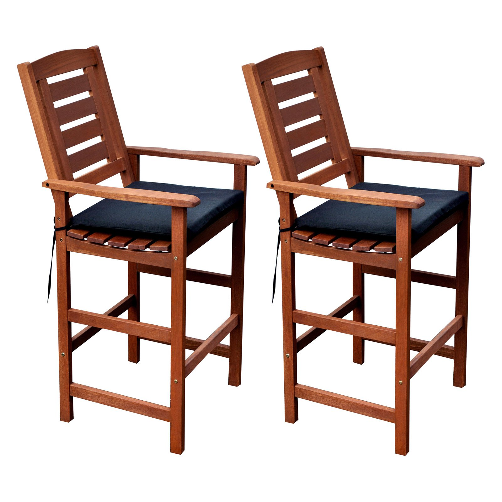 CorLiving Cinnamon Brown Hardwood Outdoor Bar Height Chairs, Set of 2