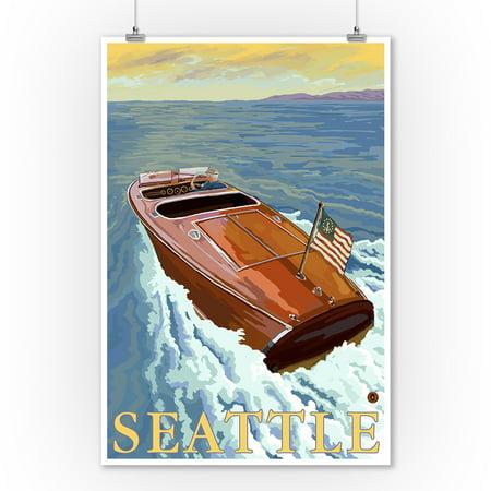 Chris Craft Boat - Seattle, WA - Lantern Press Original Poster (9x12 Art Print, Wall Decor Travel Poster)](Halloween Boat Cruise Seattle)