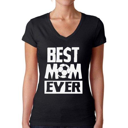 Awkward Styles Women's Best Mom Ever V-neck T-shirt Soccer Mom Gift (Best Female Soccer Player Ever)