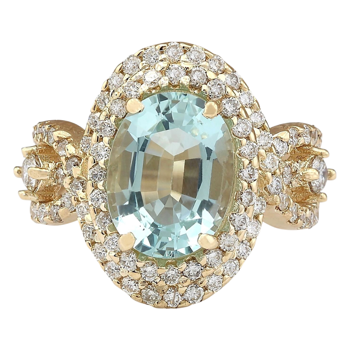 5.00 CTW Natural Blue Aquamarine And Diamond Ring In 14k Yellow Gold by