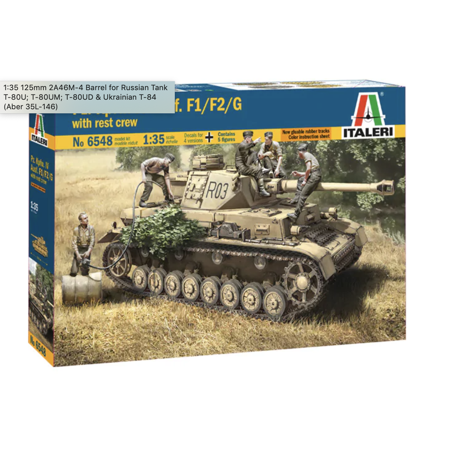 Italeri 6548 Pz.Kpfw. IV Ausf. F1/F2/G 1/35 Scale Plastic Model Kit with Crew