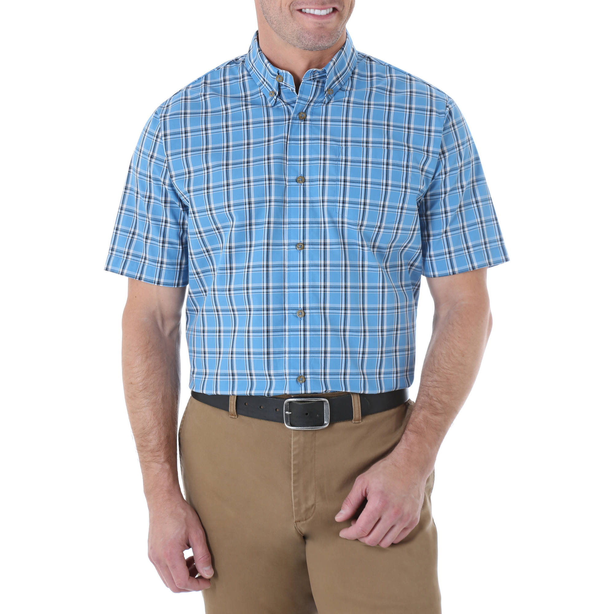 Wrangler Mens' Short Sleeve Wrinkle Resist Plaid Woven Shirt