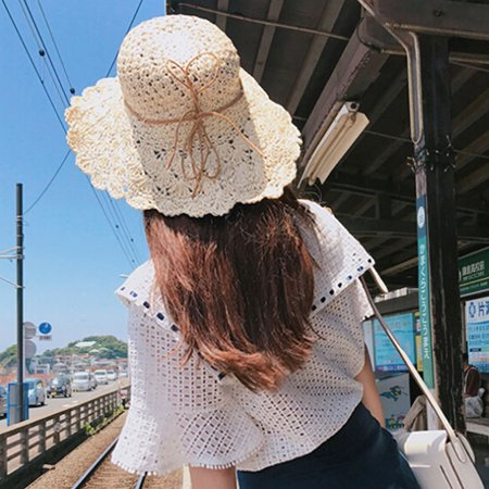 Summer Women Crochet Straw Hat Wide Brim Bow Sun Beach Cap Holiday Fedora Trilby Hat -