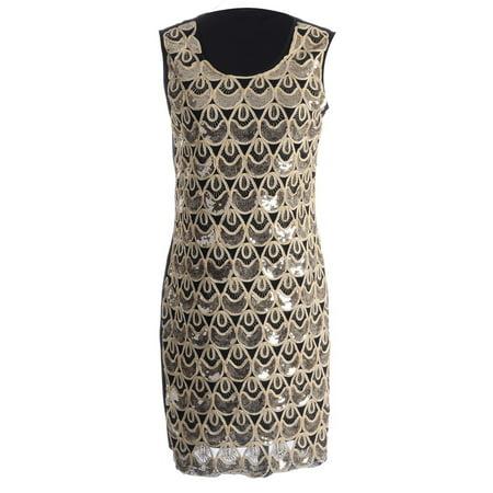 S/M Fit Black & Gold Tear Drop Shape Pattern Sequin Embellished Dress