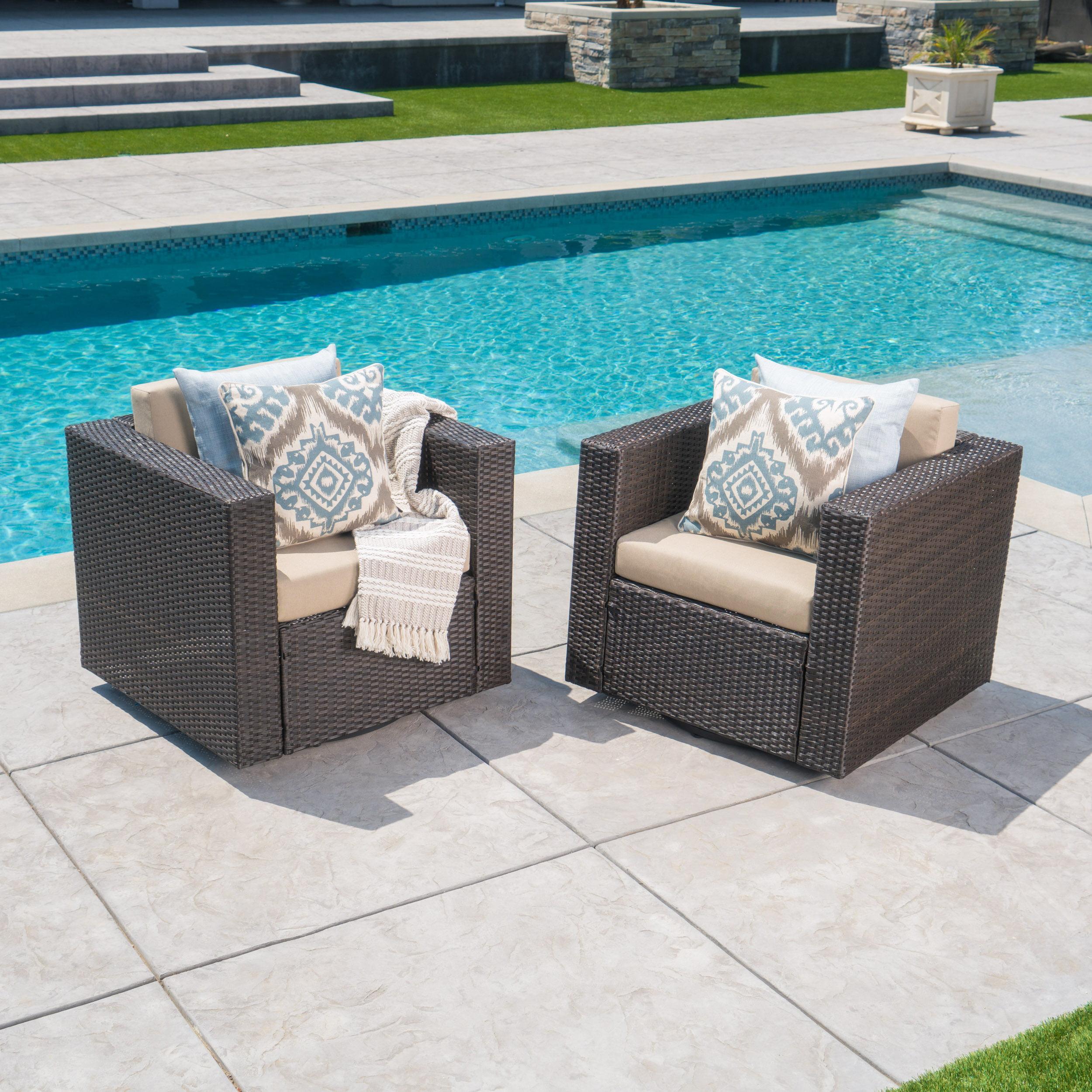 Cascada Outdoor Wicker Swivel Club Chairs with Cushions, Set of 2, Dark Brown, Beige