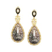 Deluxe Natural Mother-of-Pearl Drop Earrings with Cubic Zirconia in 14kt Gold-Plated Sterling Silver