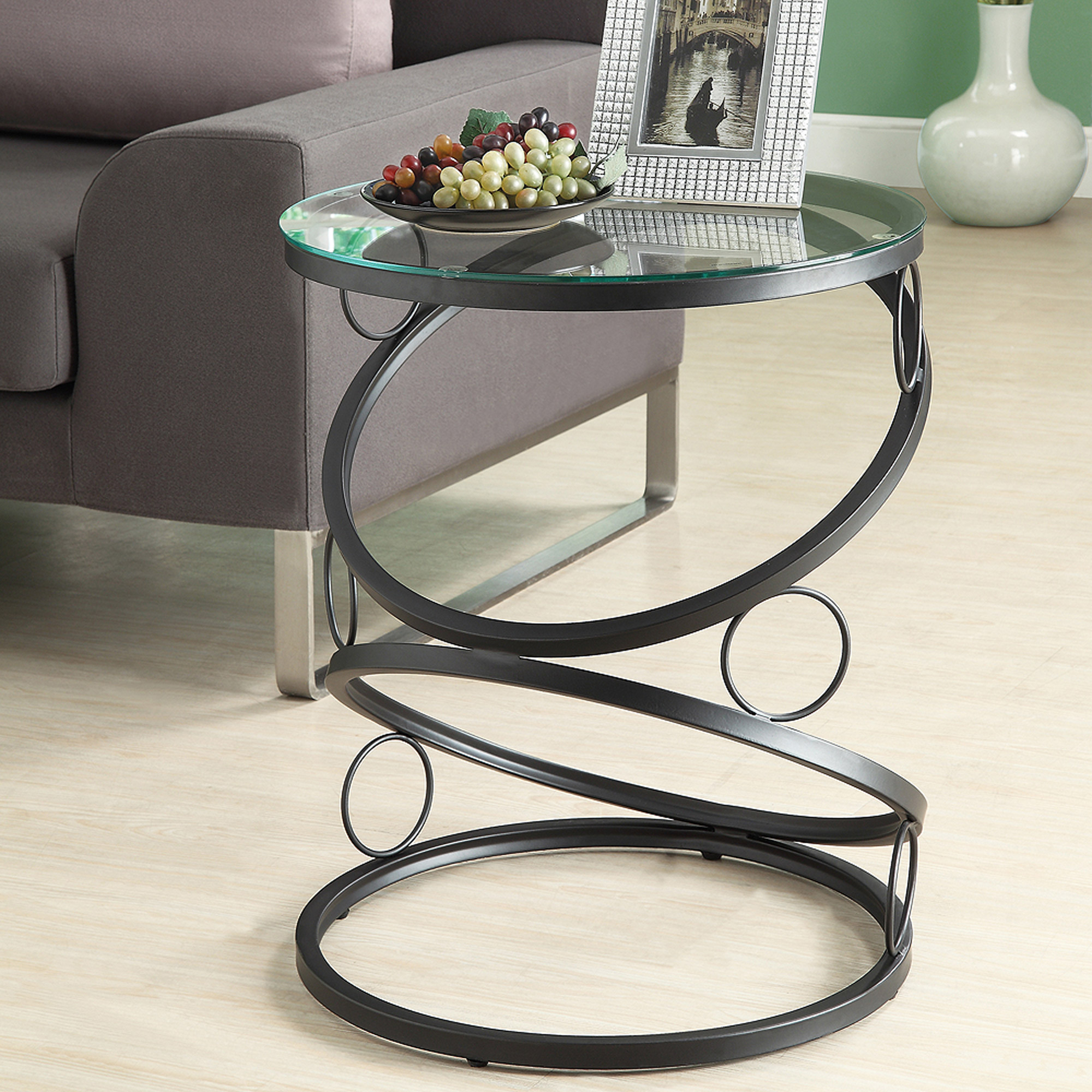 Metal Accent Table with Tempered Glass, Matte Black