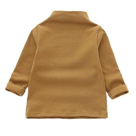 Children Girls Turtleneck Cotton Bottoming Shirt Long Sleeve Tops Blouse 1-5Y