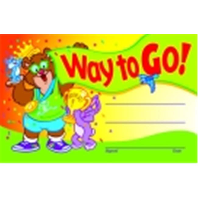Trend Enterprises Way To Go Recognition Award - 8.5 x 5.5 in. - Pack 30