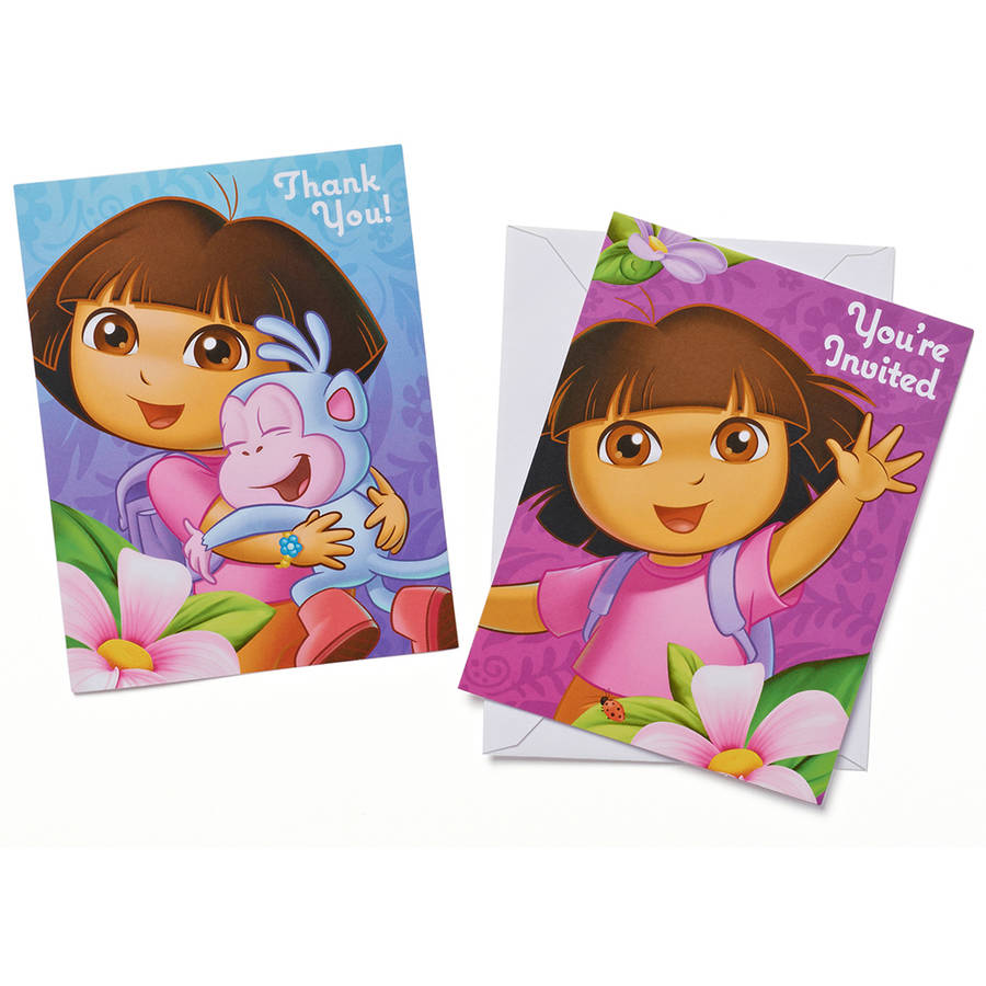 Dora the Explorer Party Invite and Thank-You Combo Pack, 8ct