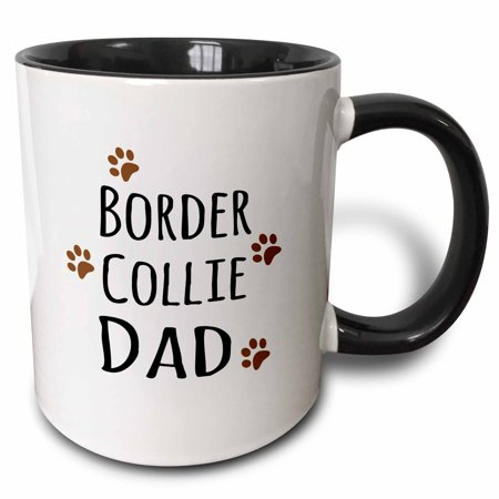 3dRose Border Collie Dog Dad - Doggie by breed - brown muddy paw prints love - doggy lover - pet owner - Two Tone Black Mug, 15-ounce