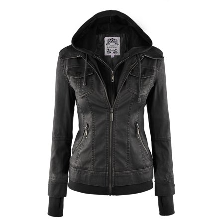 Racing Replica Leather Jacket - MBJ WJC664 Womens Faux Leather Jacket with Hoodie M BLACK