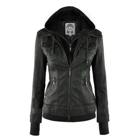 MBJ WJC664 Womens Faux Leather Jacket with Hoodie M BLACK
