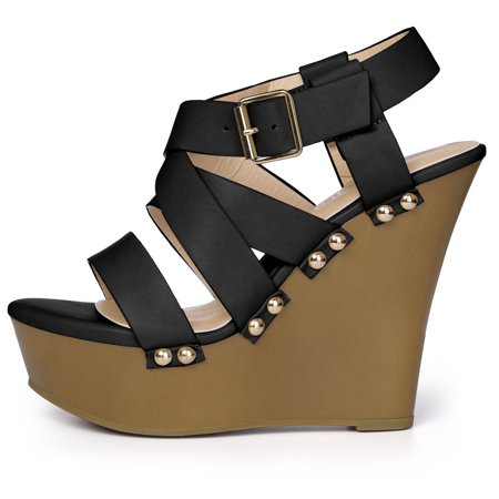 Women's Open Toe Platform Strappy Wedge Sandals Black US 11 - image 1 of 7