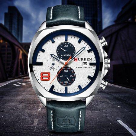 CURREN 8324 montre de sport de quartz d'homme de marque de mode décontracté mâle multi-fonction montre-bracelet étanche - image 2 of 7