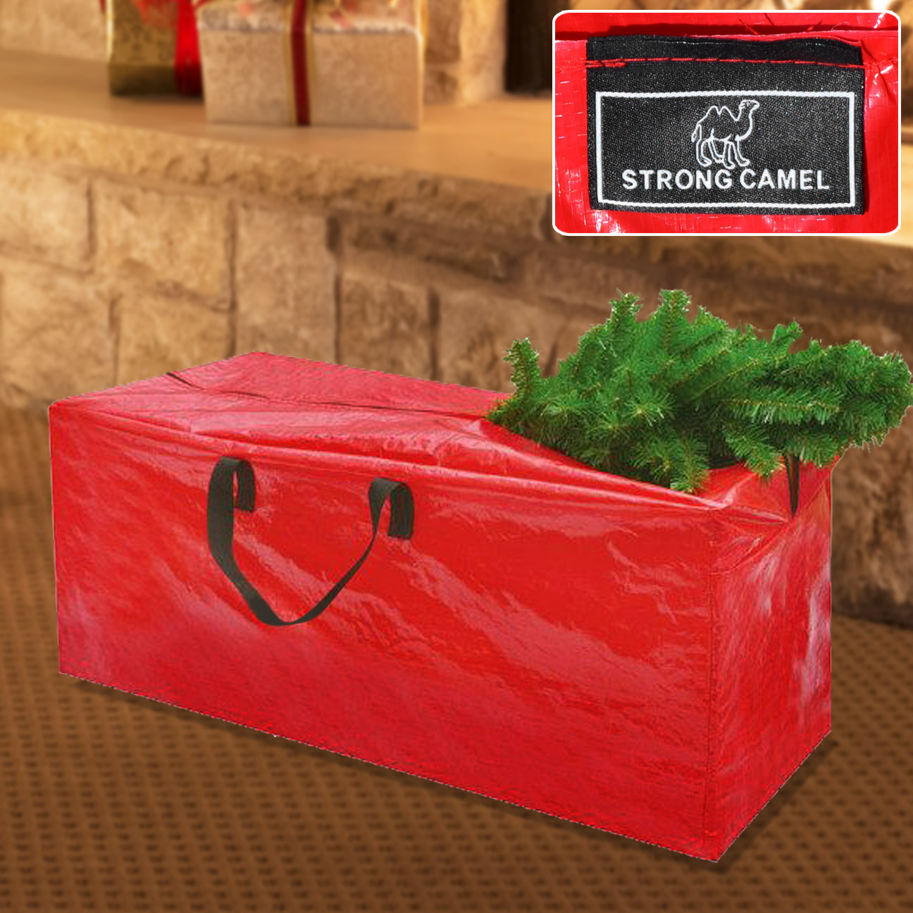 Strong Camel Heavy Duty Large Artificial Christmas Tree Storage Bag For Clean Up Holiday Red Up to 8ft