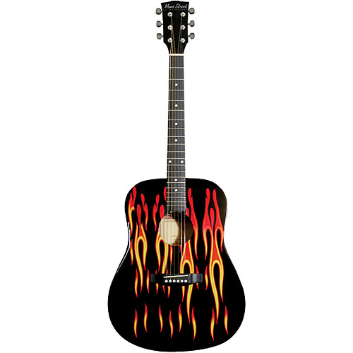 Main Street Dreadnought Acoustic Guitar, Flame Design