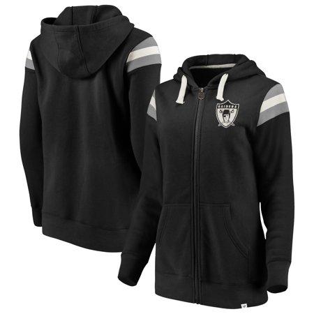 83d257d8 Oakland Raiders NFL Pro Line by Fanatics Branded Women's True Classics  Retro Stripe Full-Zip Hoodie - Black/Silver