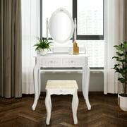Zimtown Makeup Desk with 4 Drawers & Mirror Vanity Table and Stool Set Wood White Dressing Table