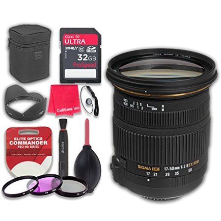 Sigma 17-50mm f/2.8 EX DC OS HSM Zoom Lens for Canon with 32GB Ultra Pro Speed Class 10 Memory Card + 3pc Filter Kit (UV-FLD-CPL) + Deluxe Sleeve + Microfiber Cleaning Cloth - International Version