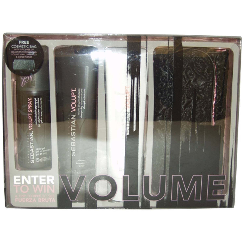 Volupt Collection Kit by Sebastian Professional for Unisex - 4 Pc Kit 3.4 oz Volupt Shampoo , 3.4 oz Volupt Conditioner , 5.07oz Volupt Spray,1 Pc Cosmetic Bag